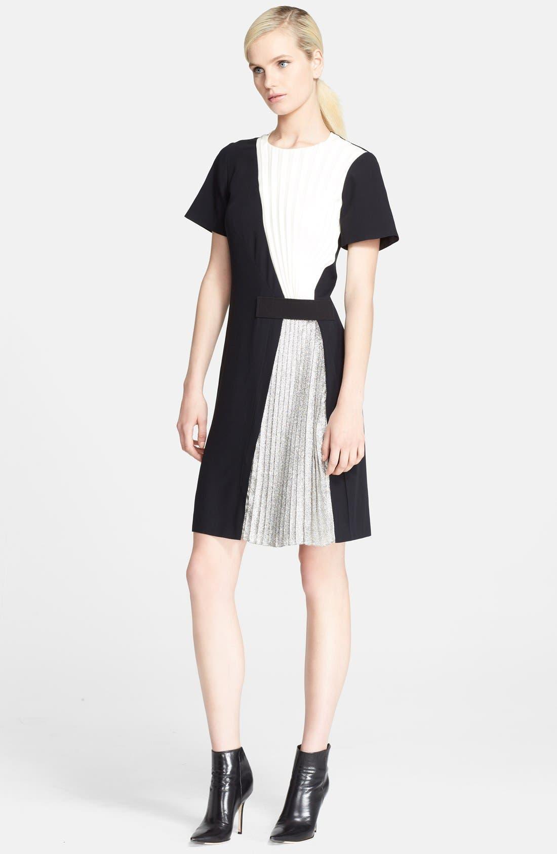 Main Image - Cédric Charlier Pleated Crepe & Lamé Dress