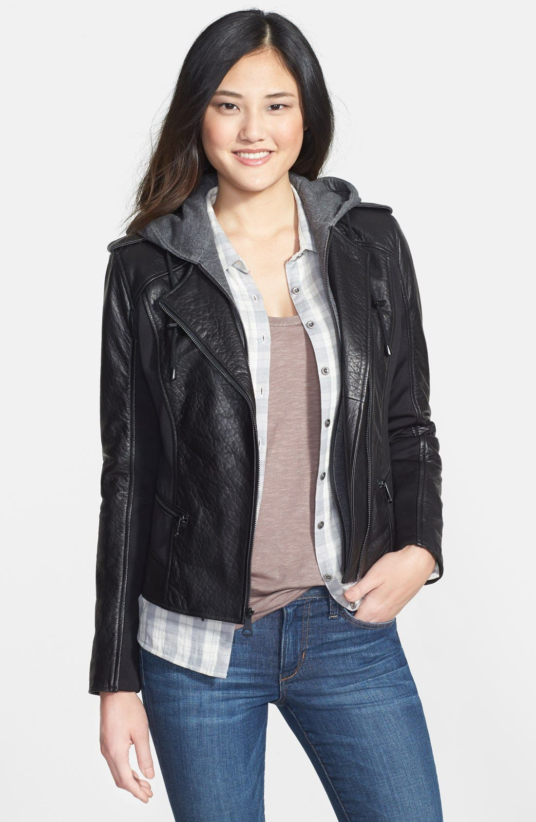 Main Image - Marc New York by Andrew Marc Mixed Media Leather Jacket with Removable Hooded Liner