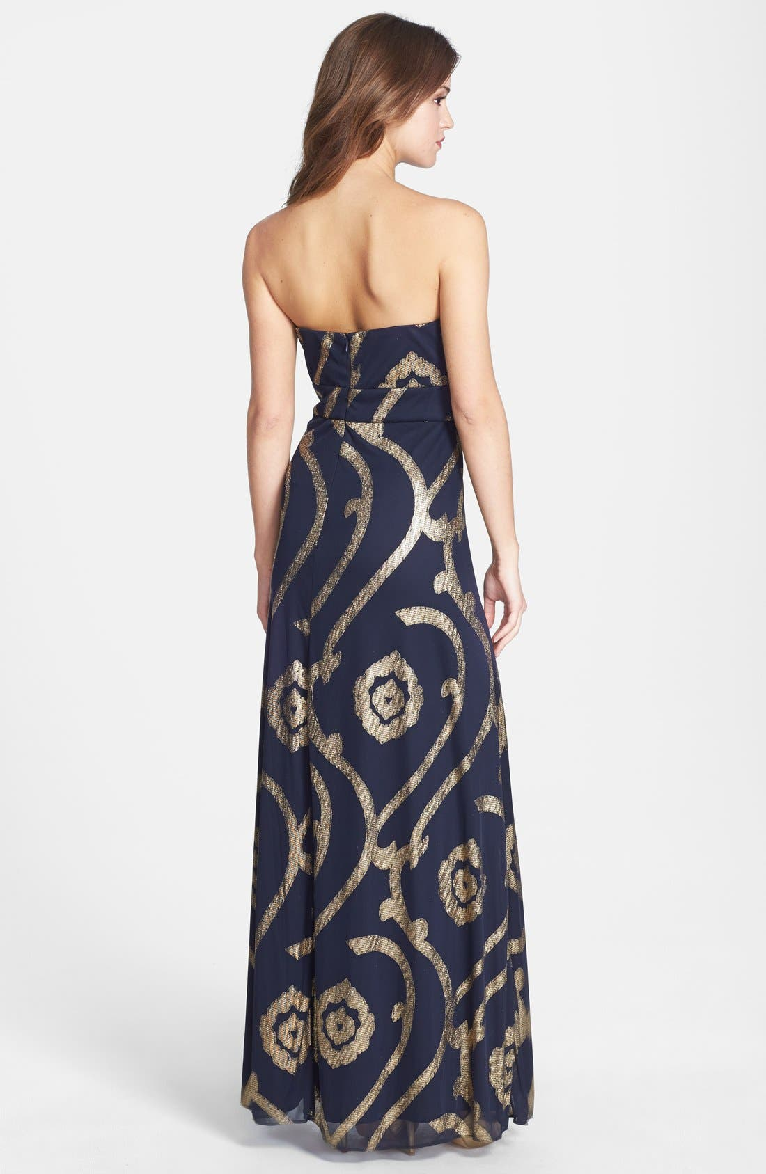 Alternate Image 2  - Betsy & Adam Embellished Sweetheart Mesh Gown
