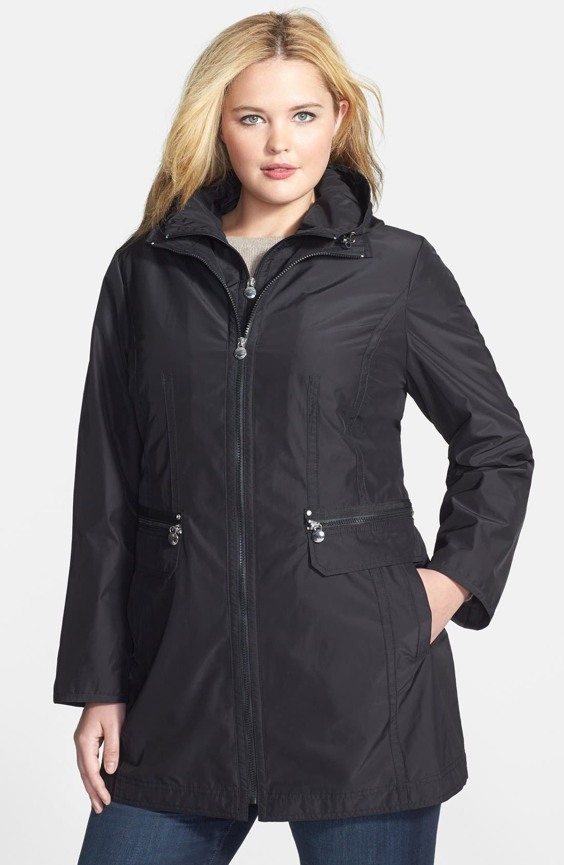 Alternate Image 1 Selected - Laundry by Shelli Segal Packable Coat with Removable Hooded Bib (Plus Size)