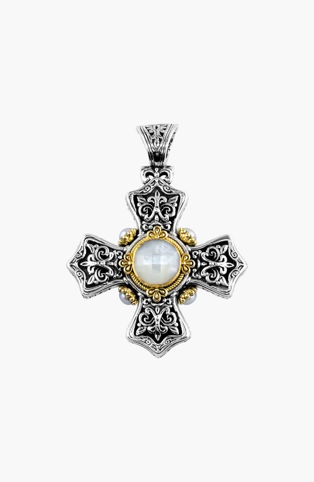 'Selene' Maltese Cross Pendant,                             Main thumbnail 1, color,                             Silver/ Gold