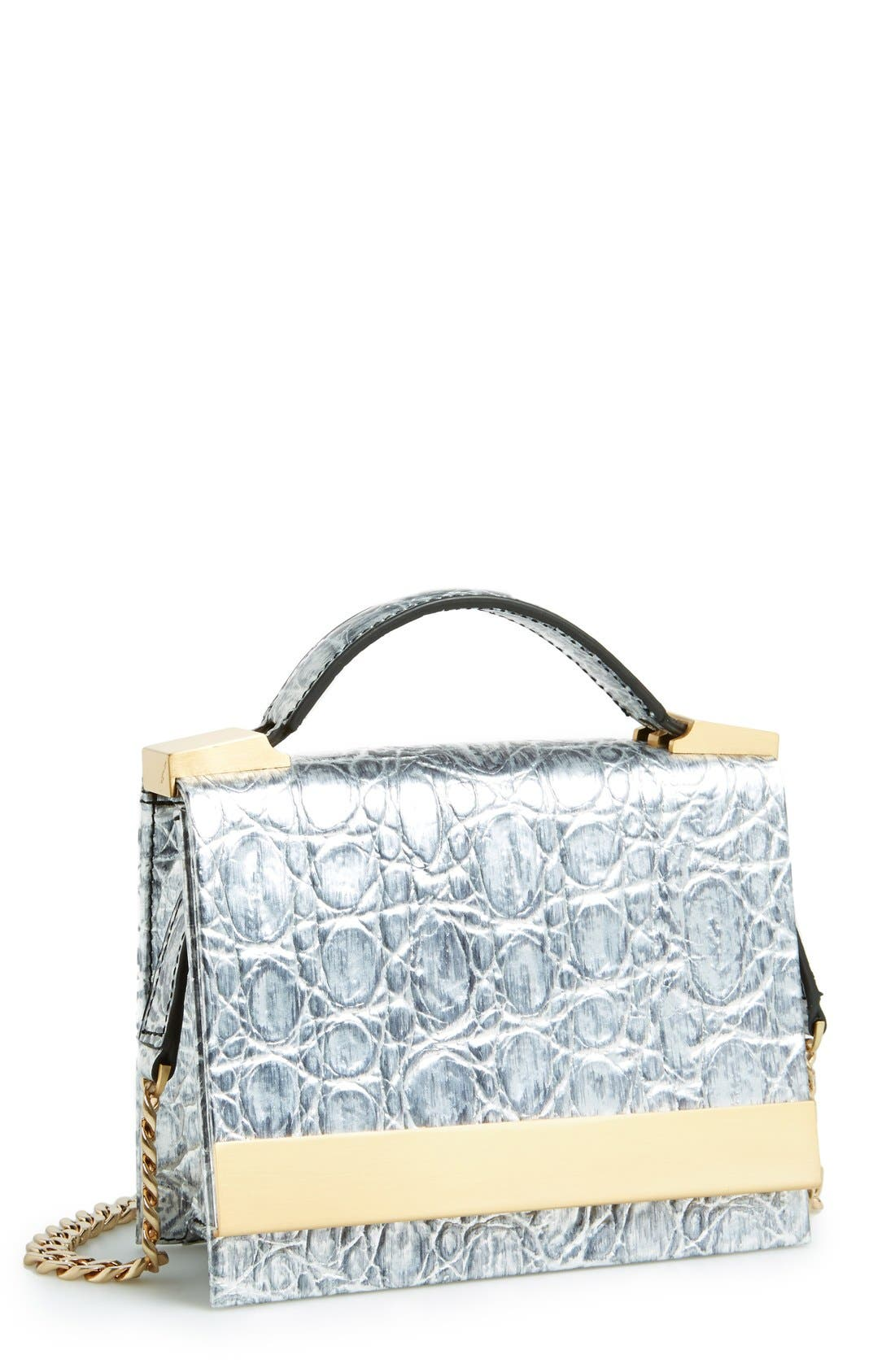 Alternate Image 1 Selected - B Brian Atwood 'Ava' Metallic Leather Top Handle Convertible Clutch
