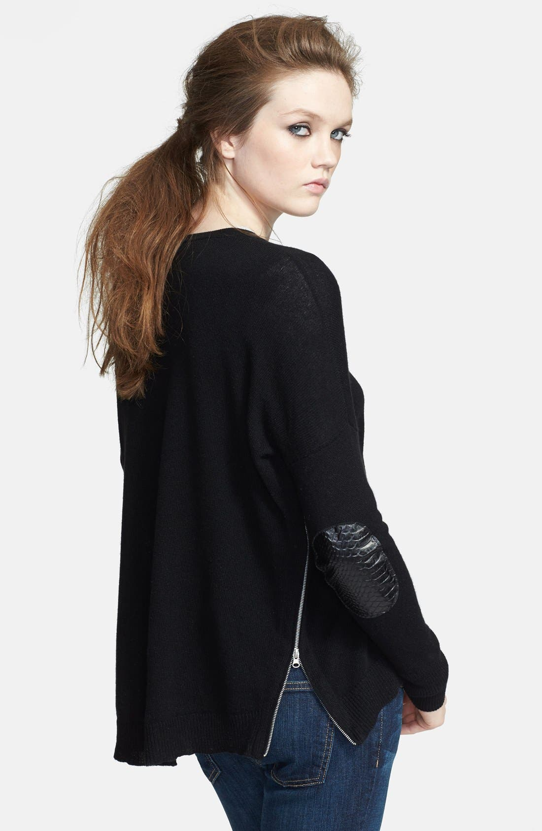 High/Low Cashmere Sweater,                             Main thumbnail 1, color,                             Black