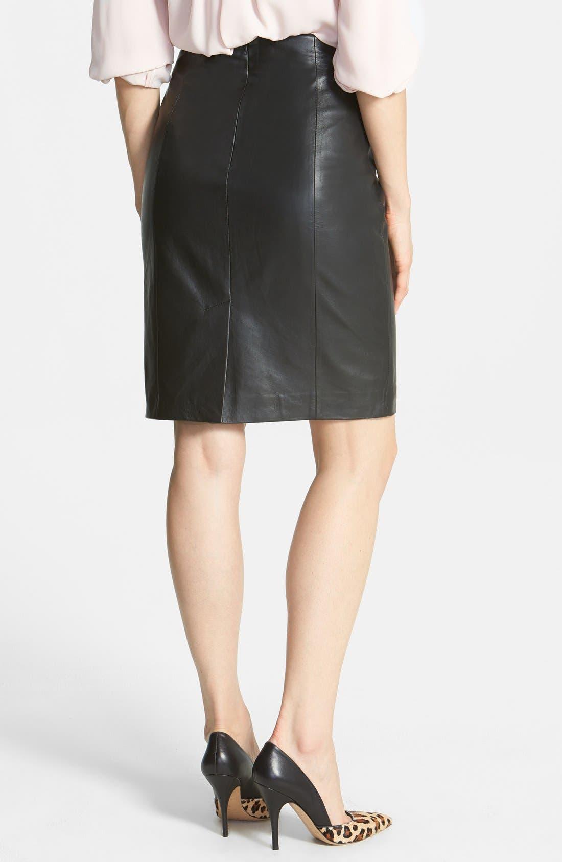 Alternate Image 2  - Halogen® Leather Panel Pencil Skirt (Online Only)