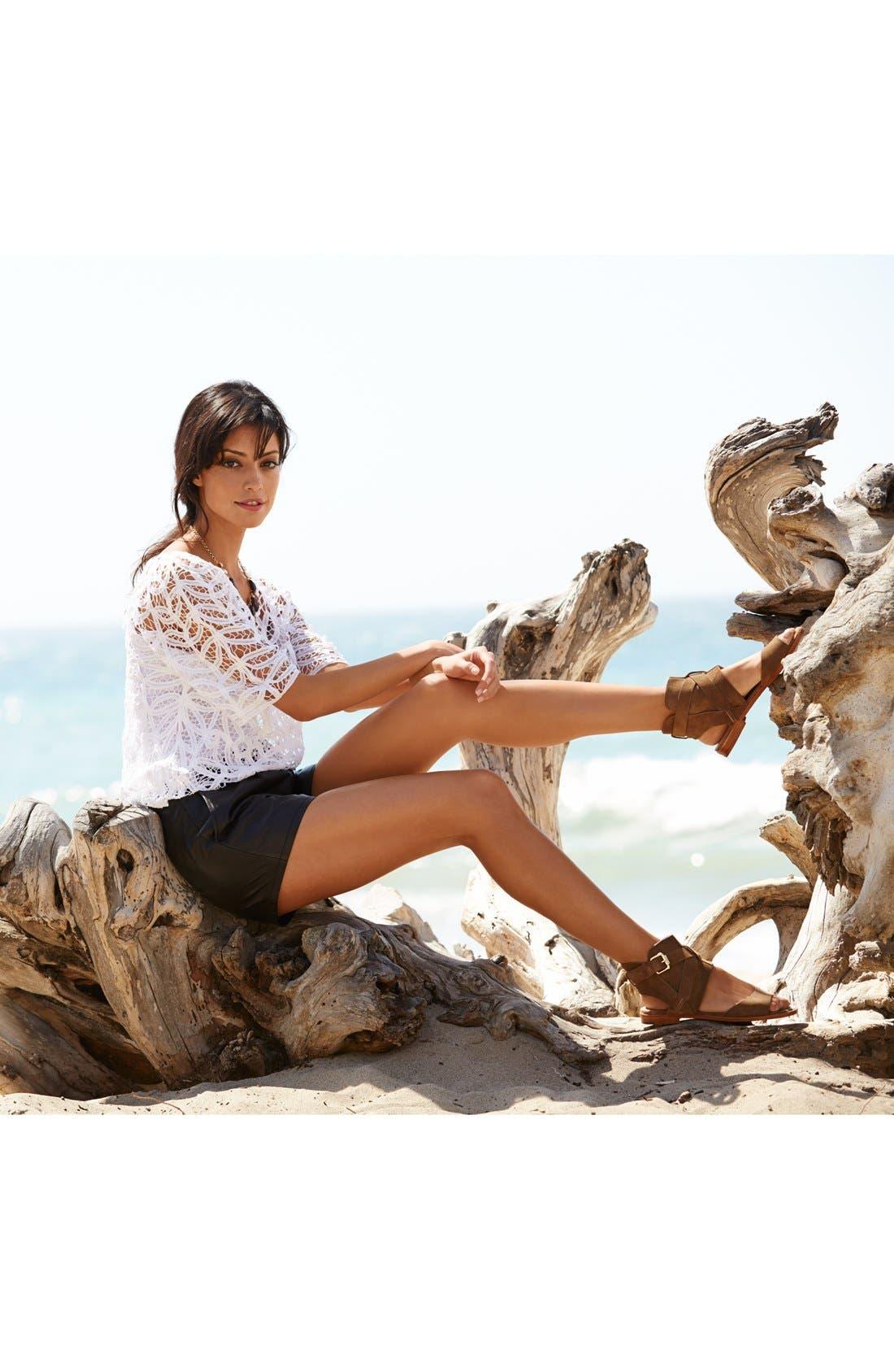Alternate Image 1 Selected - VC Signature Sandal, Hinge® Crochet Top & Halogen® Leather Shorts