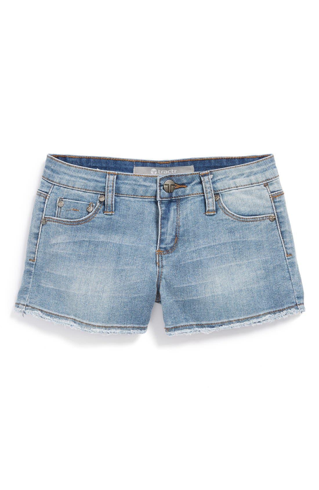Alternate Image 2  - Tractr Frayed Denim Shorts (Big Girls)