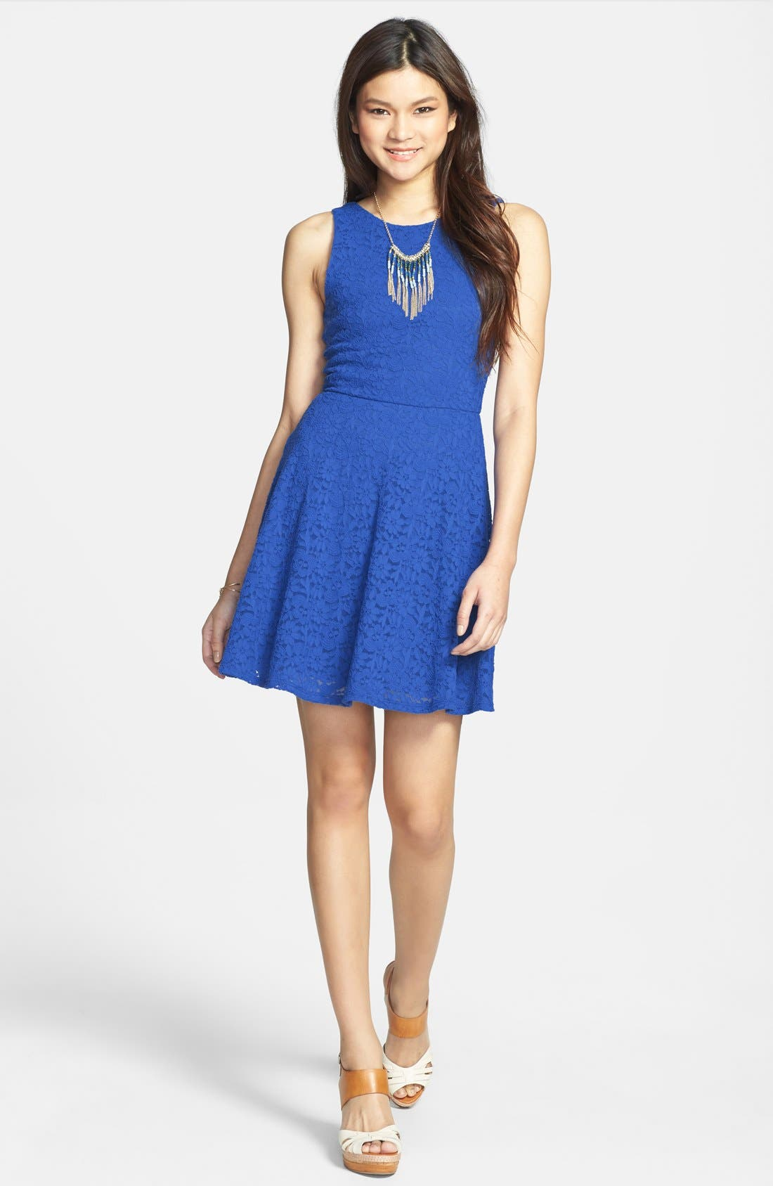 Main Image - Everly Lace Scoop Back Skater Dress (Juniors)