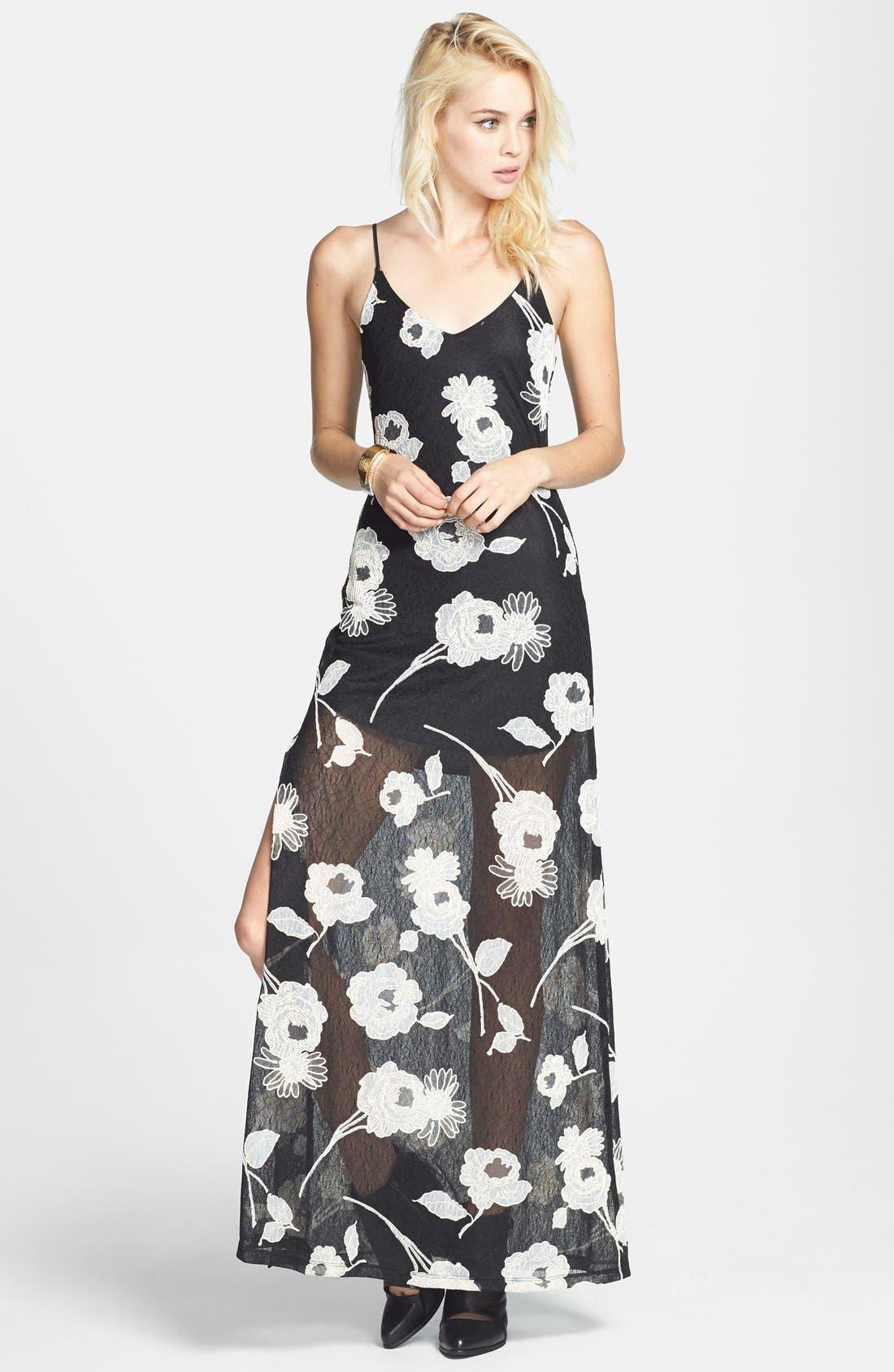 Main Image - ASTR Floral Appliqué Lace Maxi Dress (Nordstrom Exclusive)