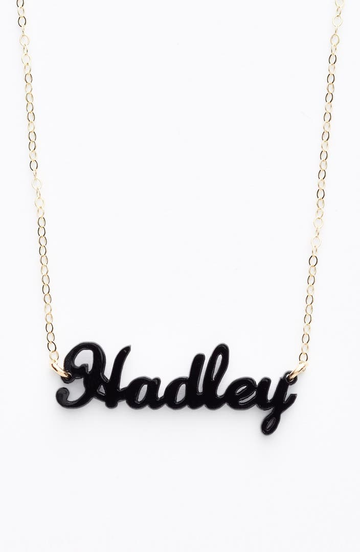 Moon and lola script font personalized nameplate pendant