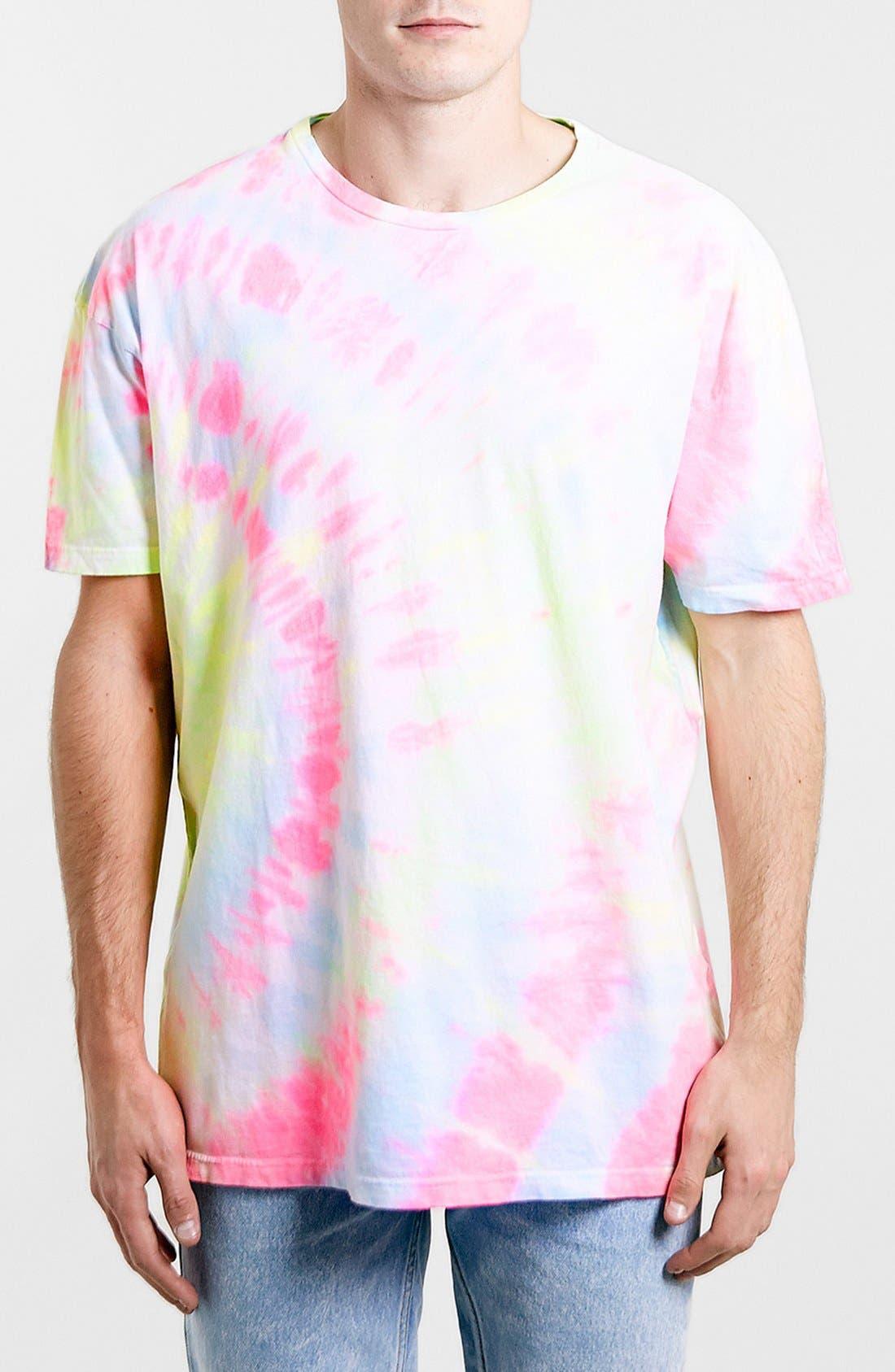 Main Image - Topman 'Skater Cali' Oversized Neon Tie-Dye Cotton T-Shirt