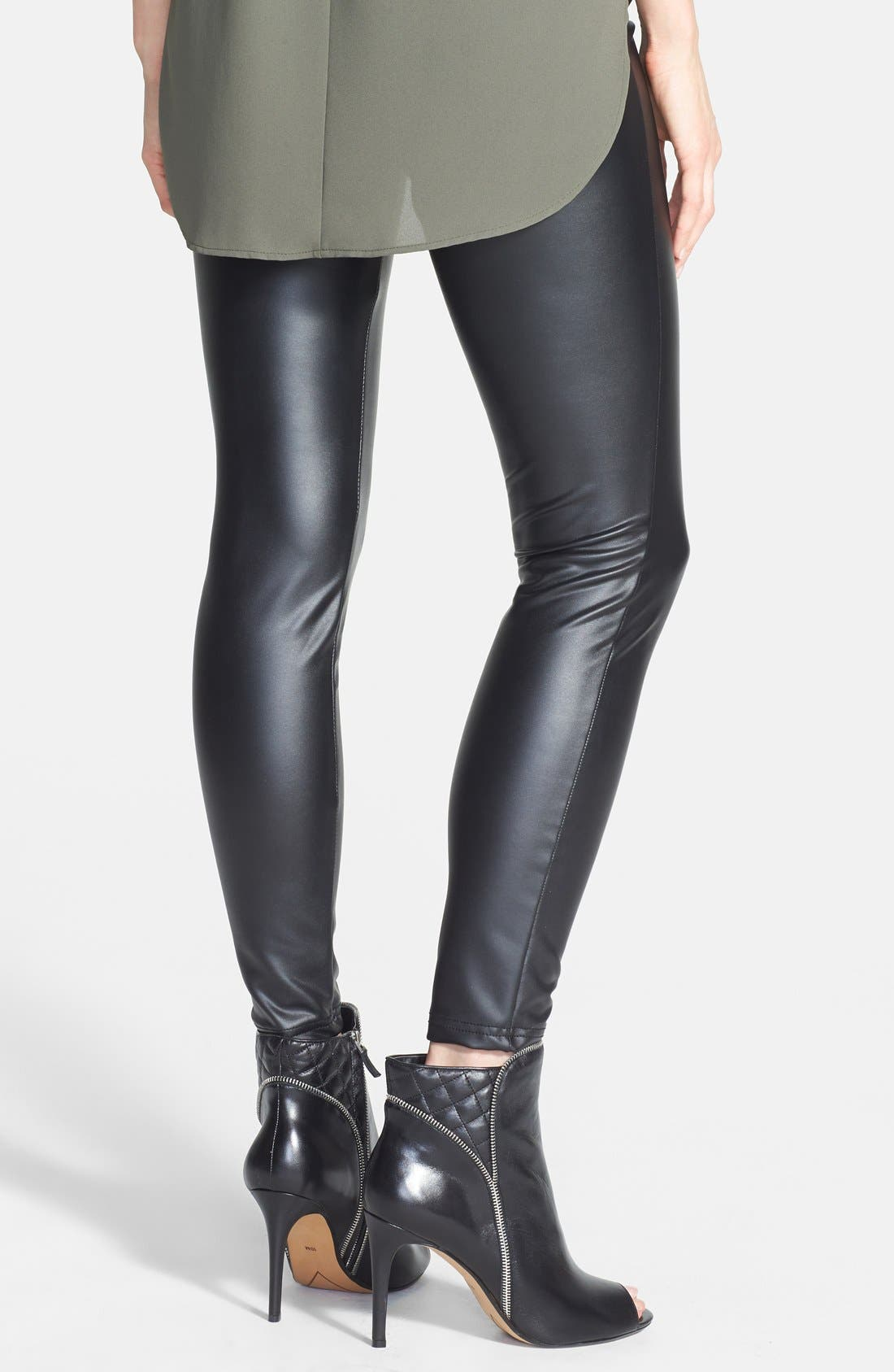 'Leatherette' Leggings,                             Alternate thumbnail 2, color,                             Black