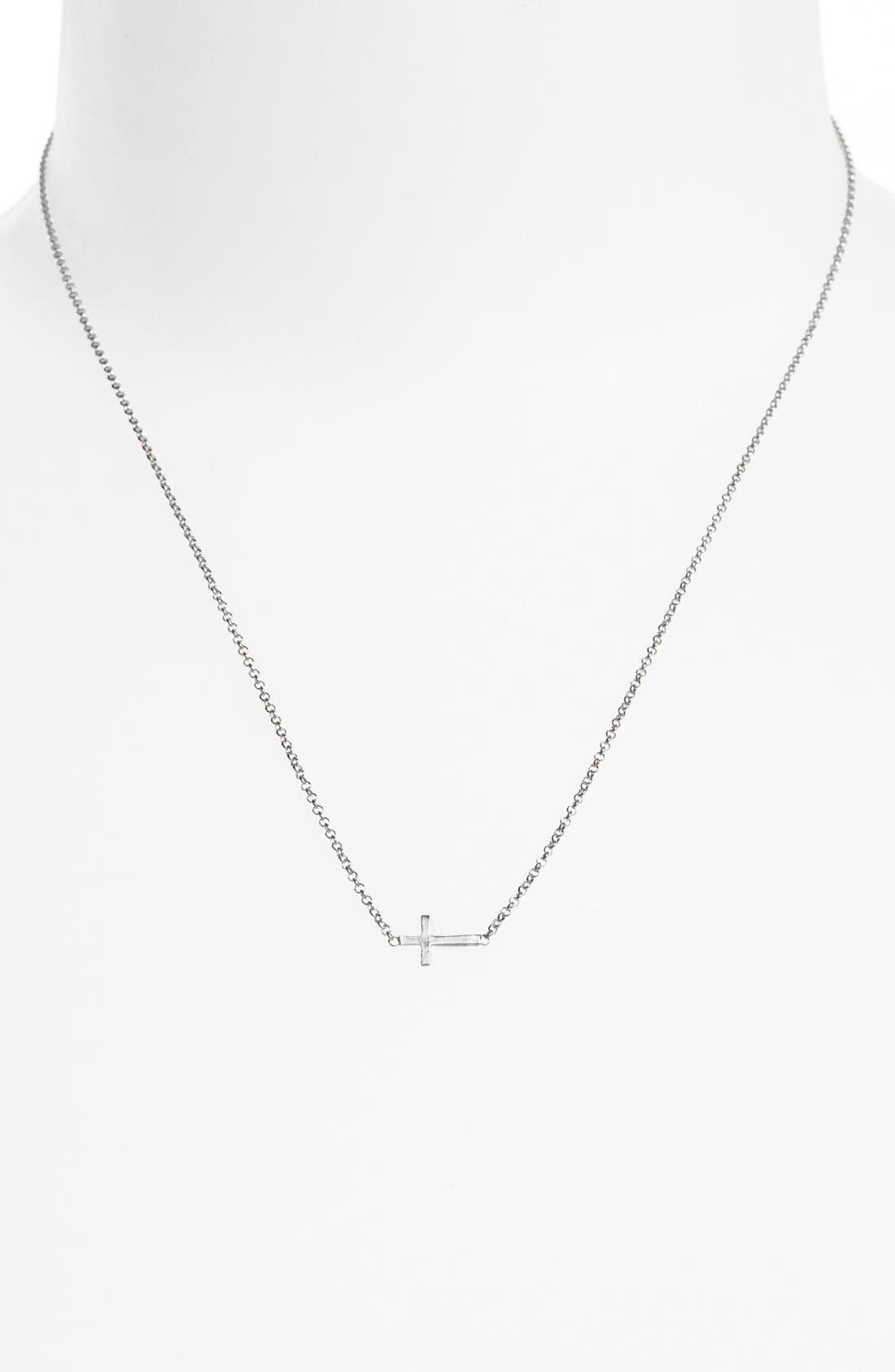 Alternate Image 2  - Dogeared 'Reminder - Faith' Sideways Cross Pendant Necklace