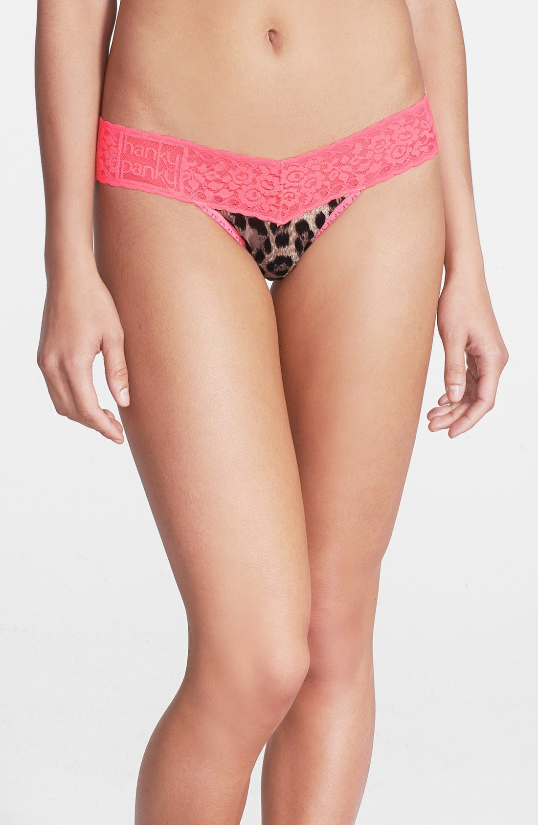 Alternate Image 1 Selected - Hanky Panky 'Feline Fatale' Low Rise Lace Trim Thong