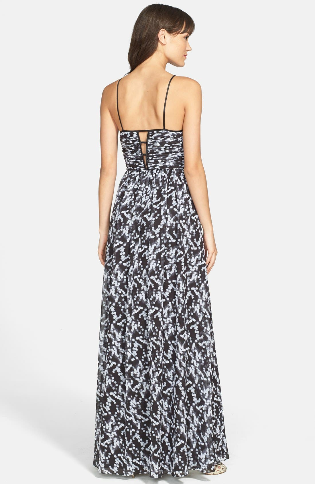 Alternate Image 2  - Hailey by Adrianna Papell Deep V-Neck Print Chiffon Gown