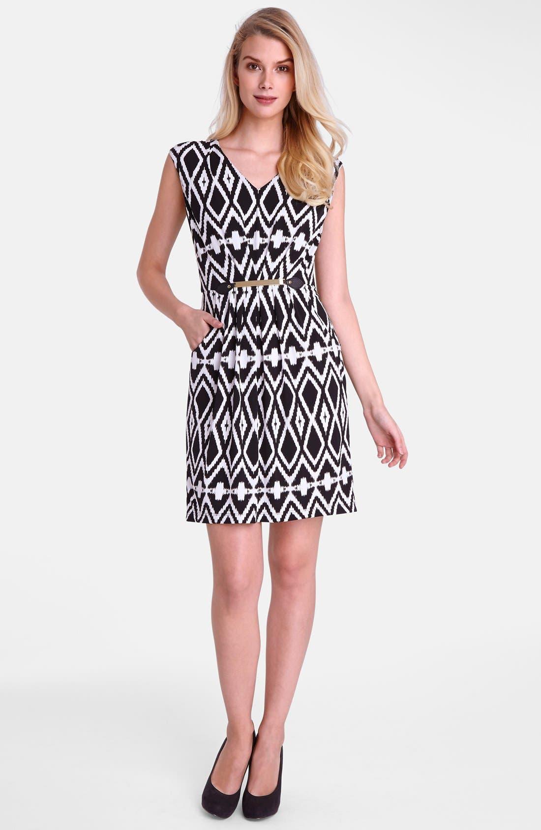 Alternate Image 3  - Tahari Belted Geo Print Jersey Sheath Dress