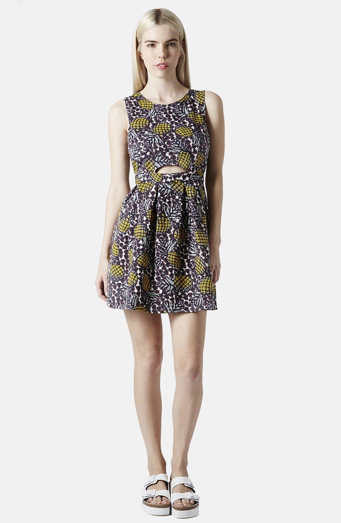 Pineapple Print Cutout Fit & Flare Dress,                             Alternate thumbnail 5, color,                             Yellow Multi