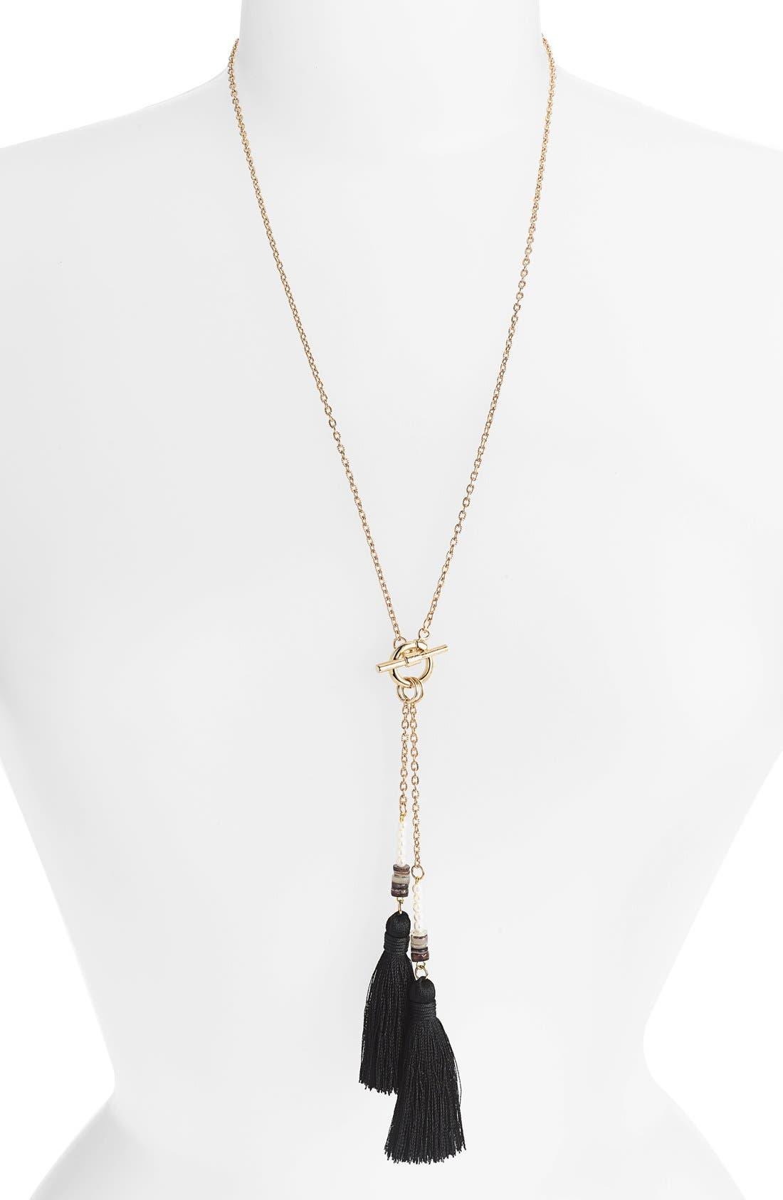 Alternate Image 1 Selected - Tildon 'Double Tassel' Pendant Necklace