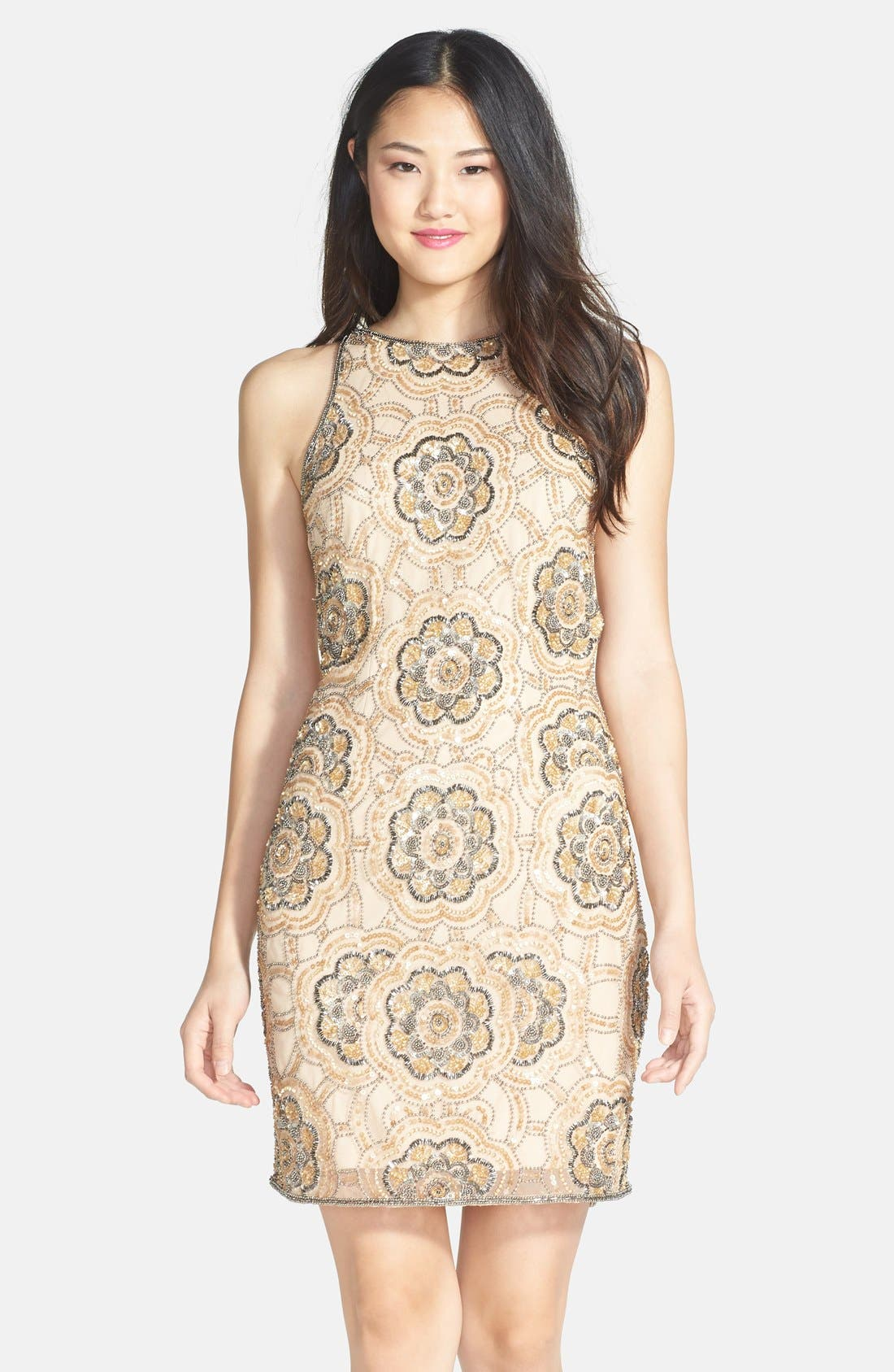 Alternate Image 1 Selected - Adrianna Papell Beaded Cutaway Sheath Dress