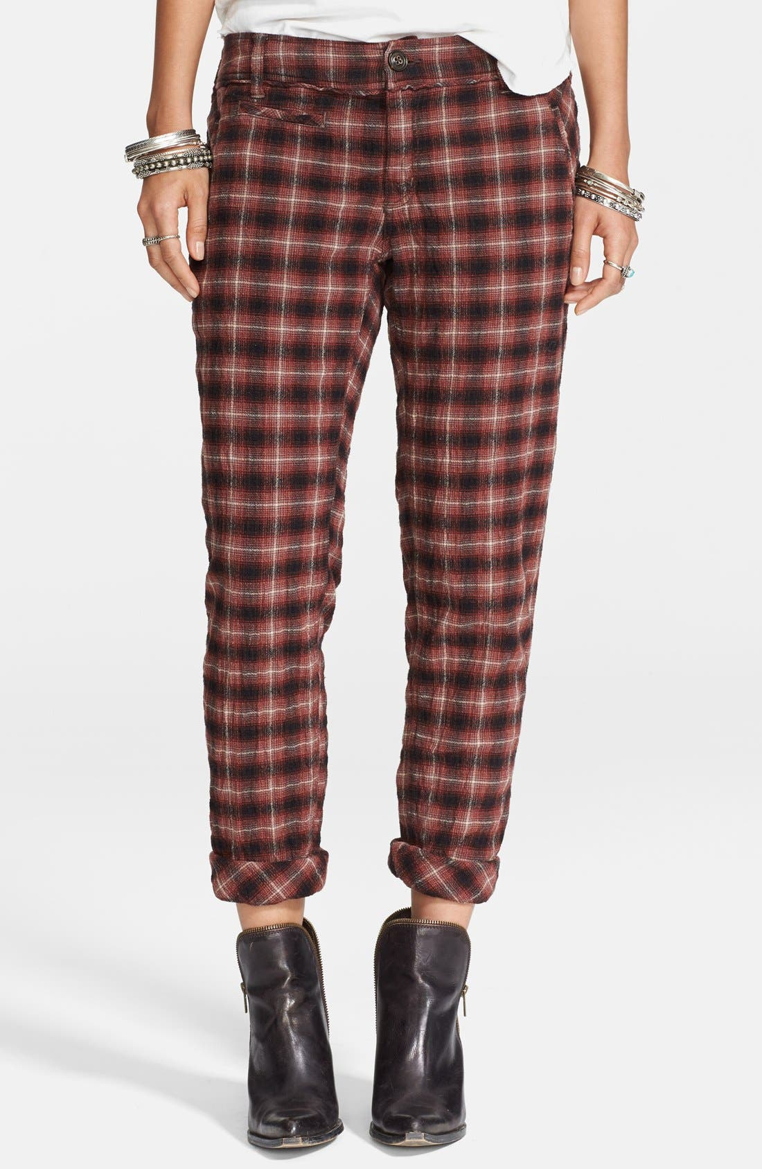 Alternate Image 1 Selected - Free People Plaid Ankle Peg Trousers
