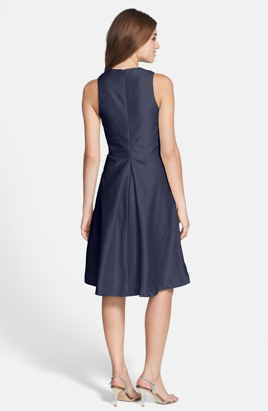 Alternate Image 2  - Alfred Sung V-Neck Dupioni Cocktail Dress