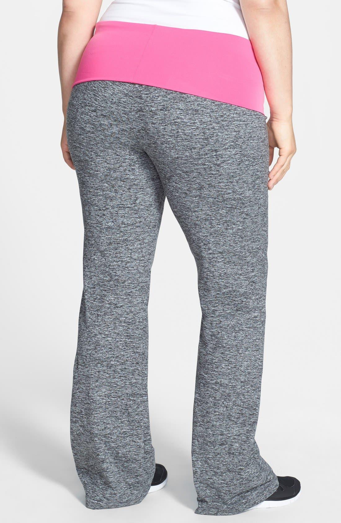 Alternate Image 2  - Pink Lotus Contrast Waist Compression Yoga Pants (Plus Size)