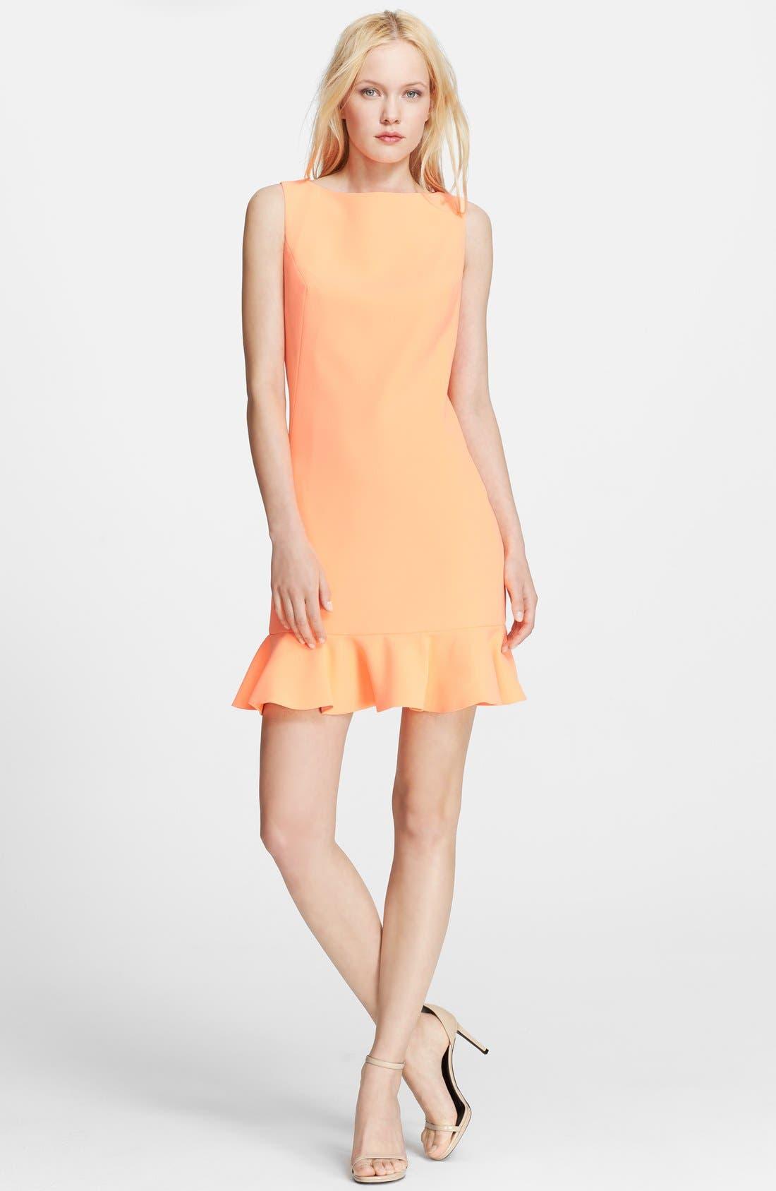 'Omelia' Ruffle Hem Stretch Sheath Dress,                             Main thumbnail 1, color,                             Light Orange