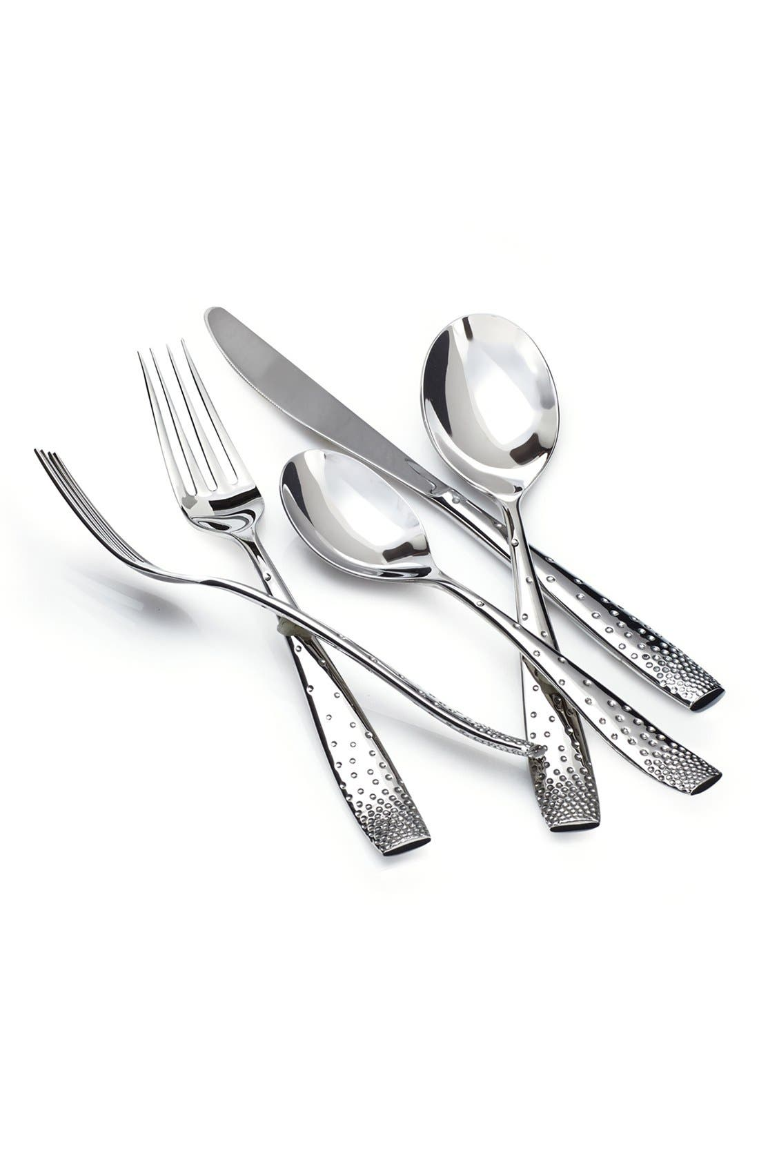 'Tilt' 5-Piece Place Setting,                             Main thumbnail 1, color,                             Silver