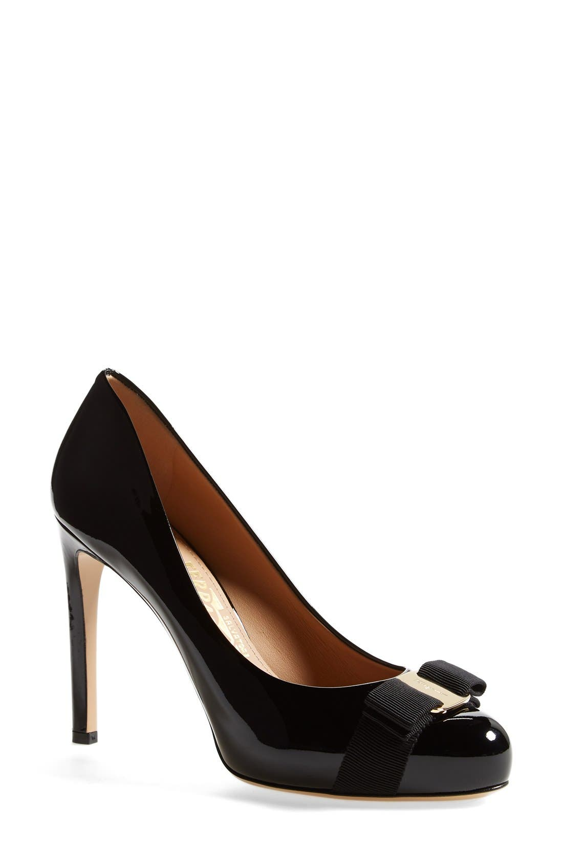 Pimpa Rounded Toe Bow Pump,                             Main thumbnail 1, color,                             Nero Patent