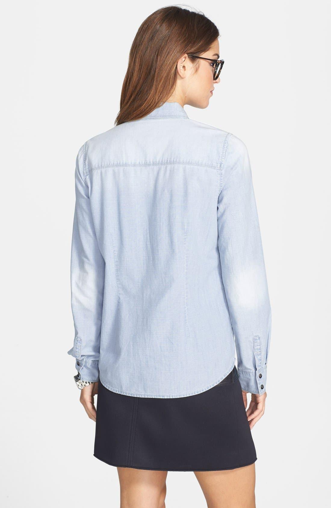 Alternate Image 2  - Halogen® Embellished Denim Shirt (Regular & Petite)