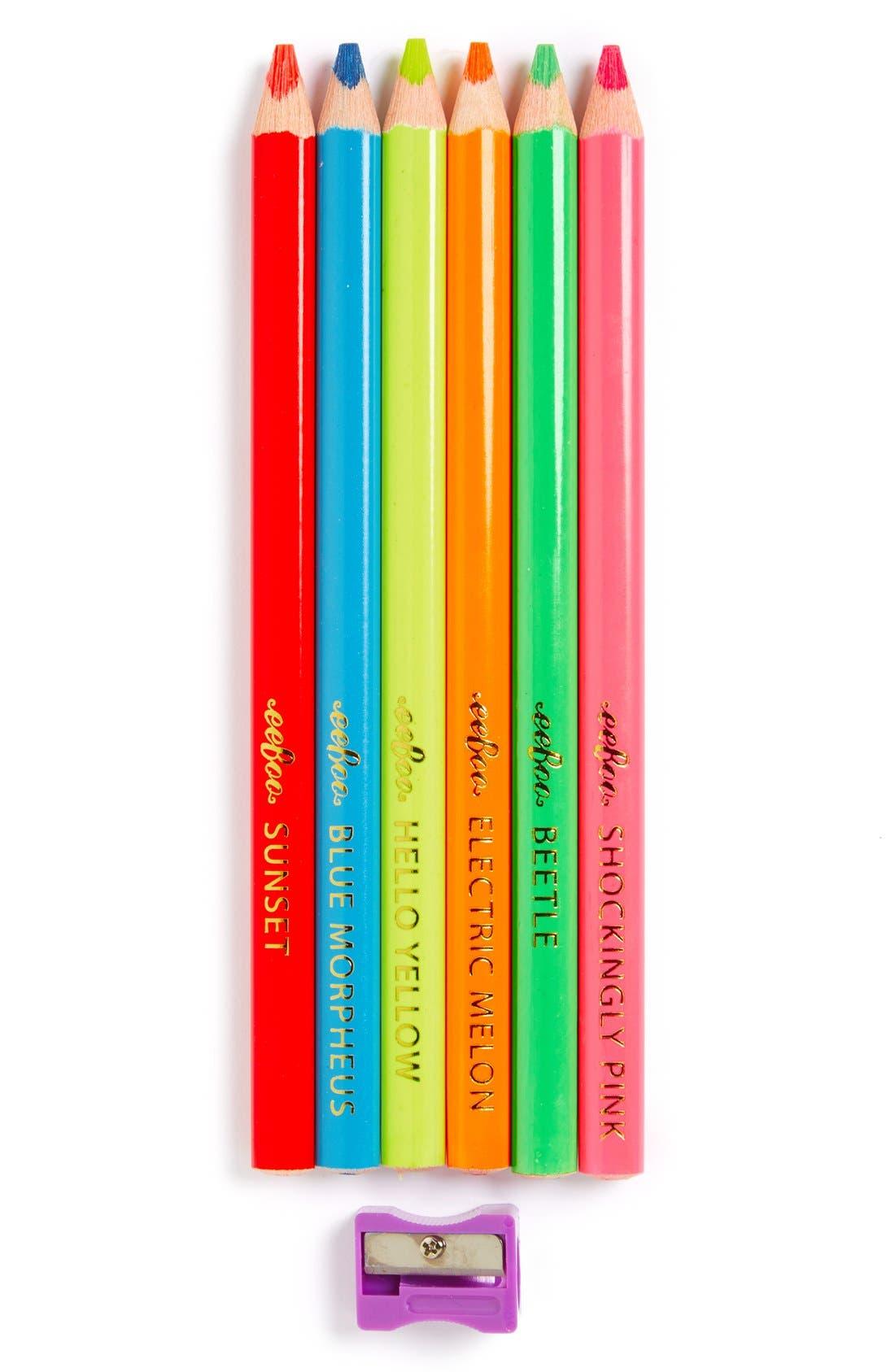 Alternate Image 1 Selected - eeBoo Fluorescent Color Pencils (6-Pack)