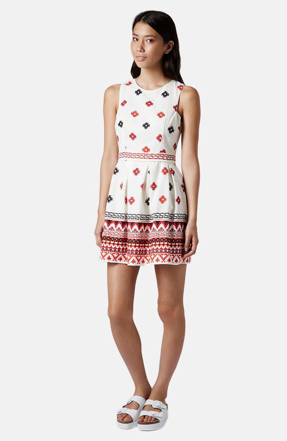 Print Pompom Trim Fit & Flare Dress,                             Alternate thumbnail 5, color,                             White