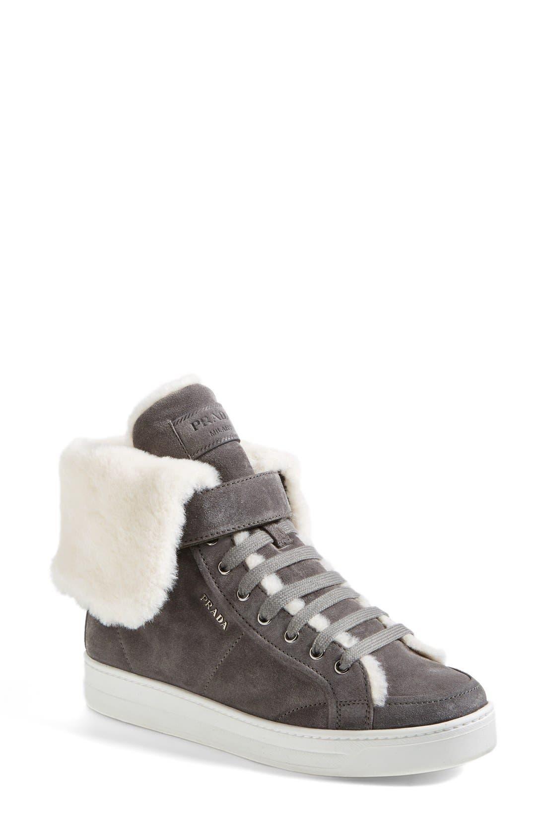 Alternate Image 1 Selected - Prada Faux Shearling Sneaker (Women)