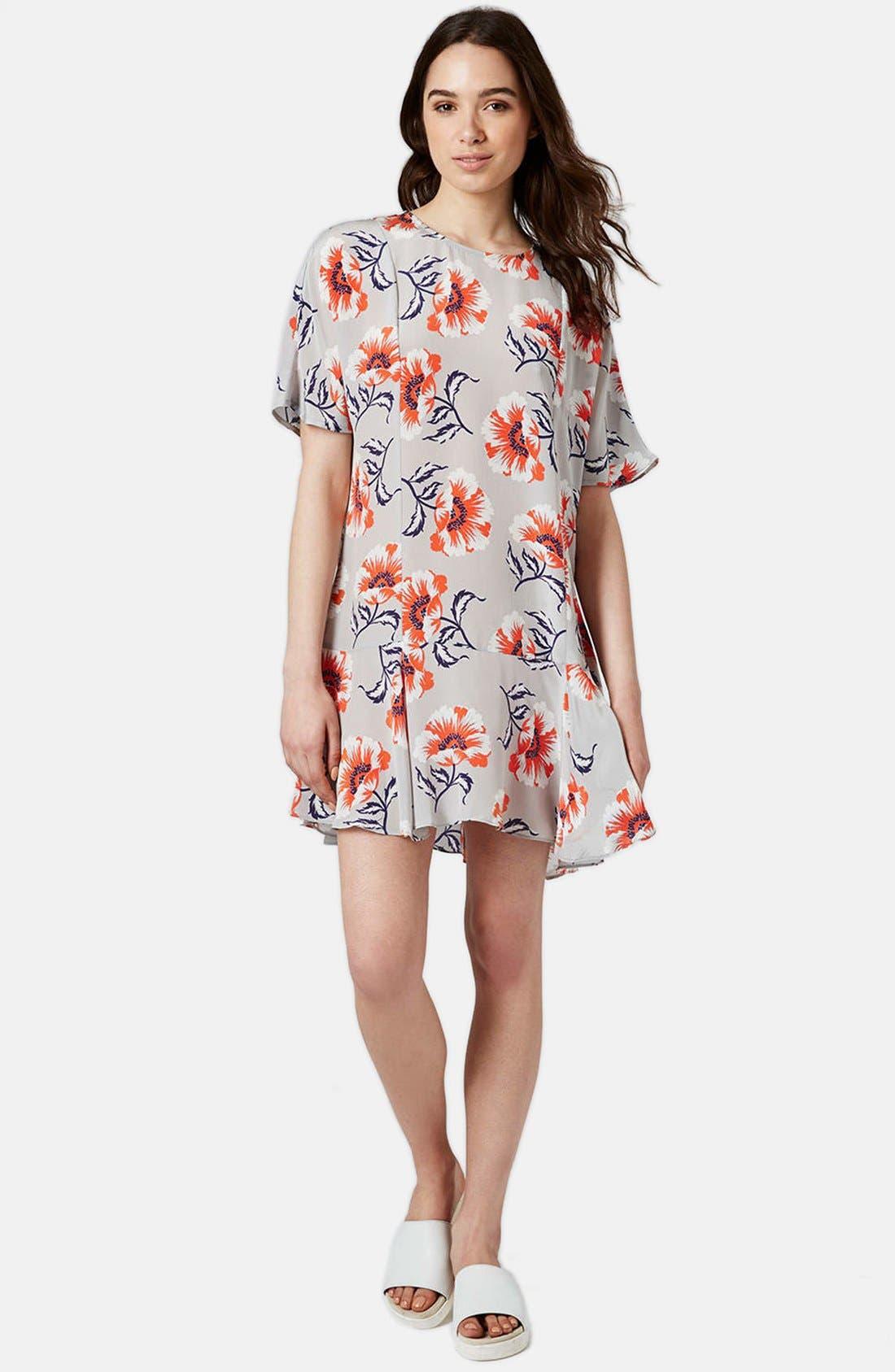 Alternate Image 5  - Topshop Boutique Floral Print Silk Shift Dress