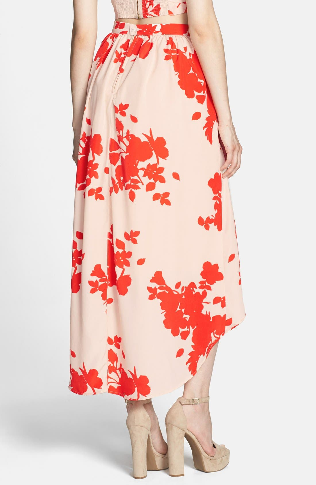 Alternate Image 2  - Rules of Etiquette Floral Print High/Low Tulle Midi Skirt