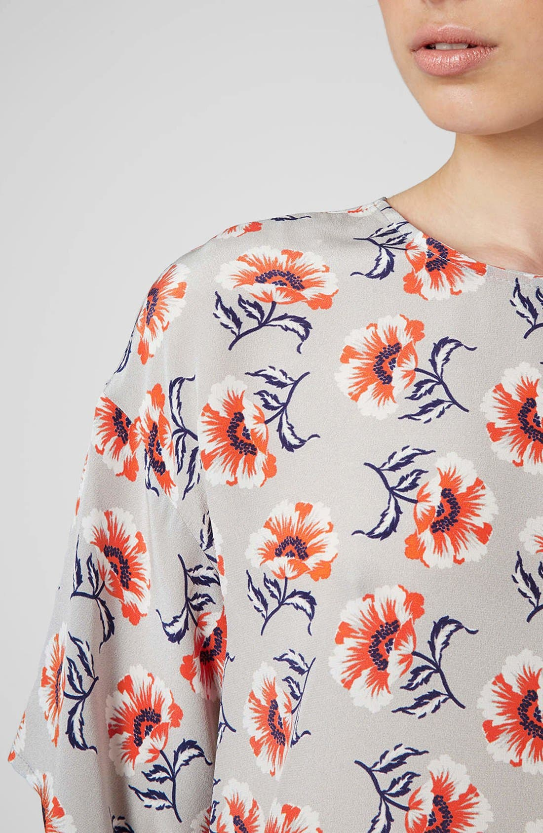 Alternate Image 4  - Topshop Boutique Floral Print Silk Top