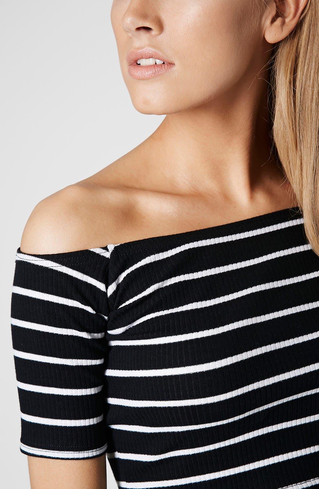 Alternate Image 4  - Topshop Stripe Rib Knit Bardot Crop Top