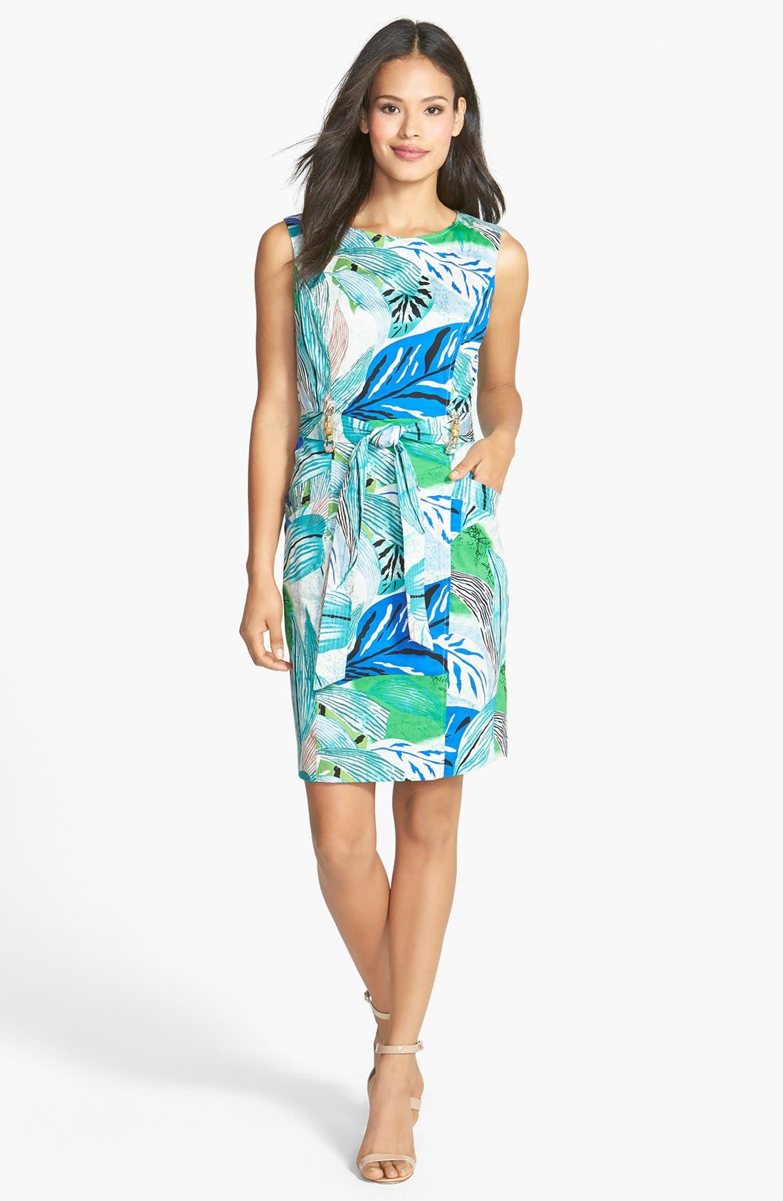 Alternate Image 3  - Ellen Tracy Bamboo Detail Belted Sheath Dress