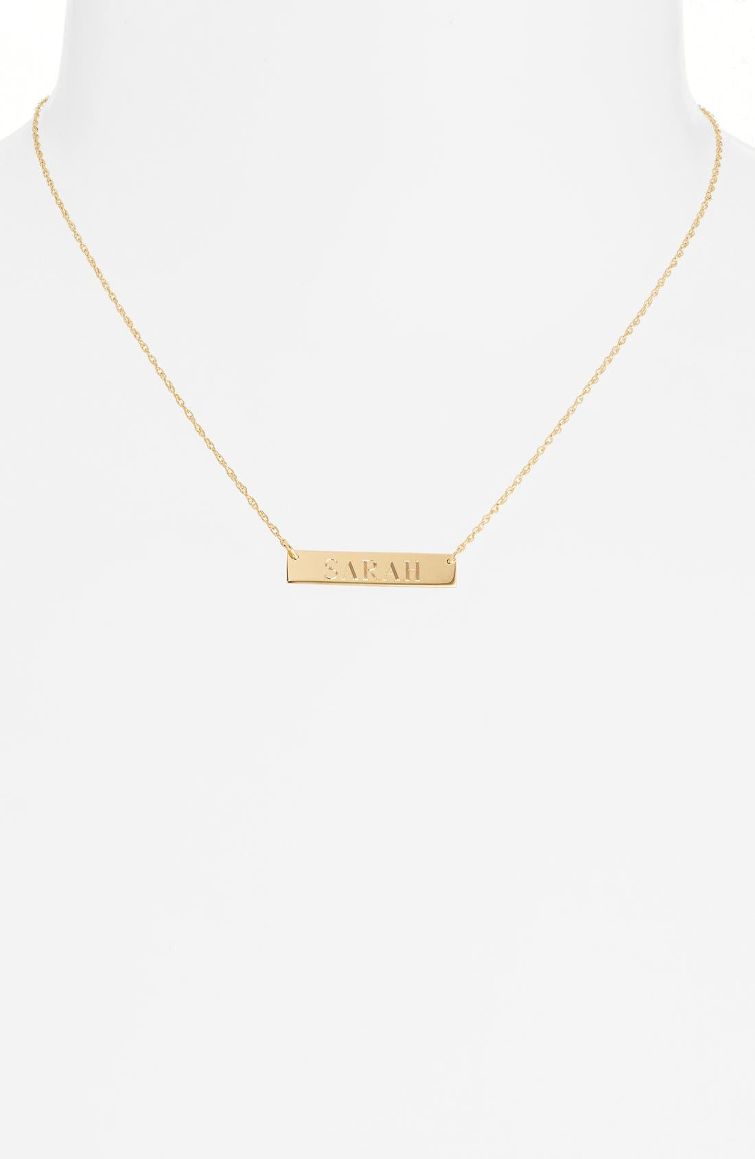 Alternate Image 3  - Moon and Lola 'Block Font' Personalized Bar Pendant Necklace (Online Only)