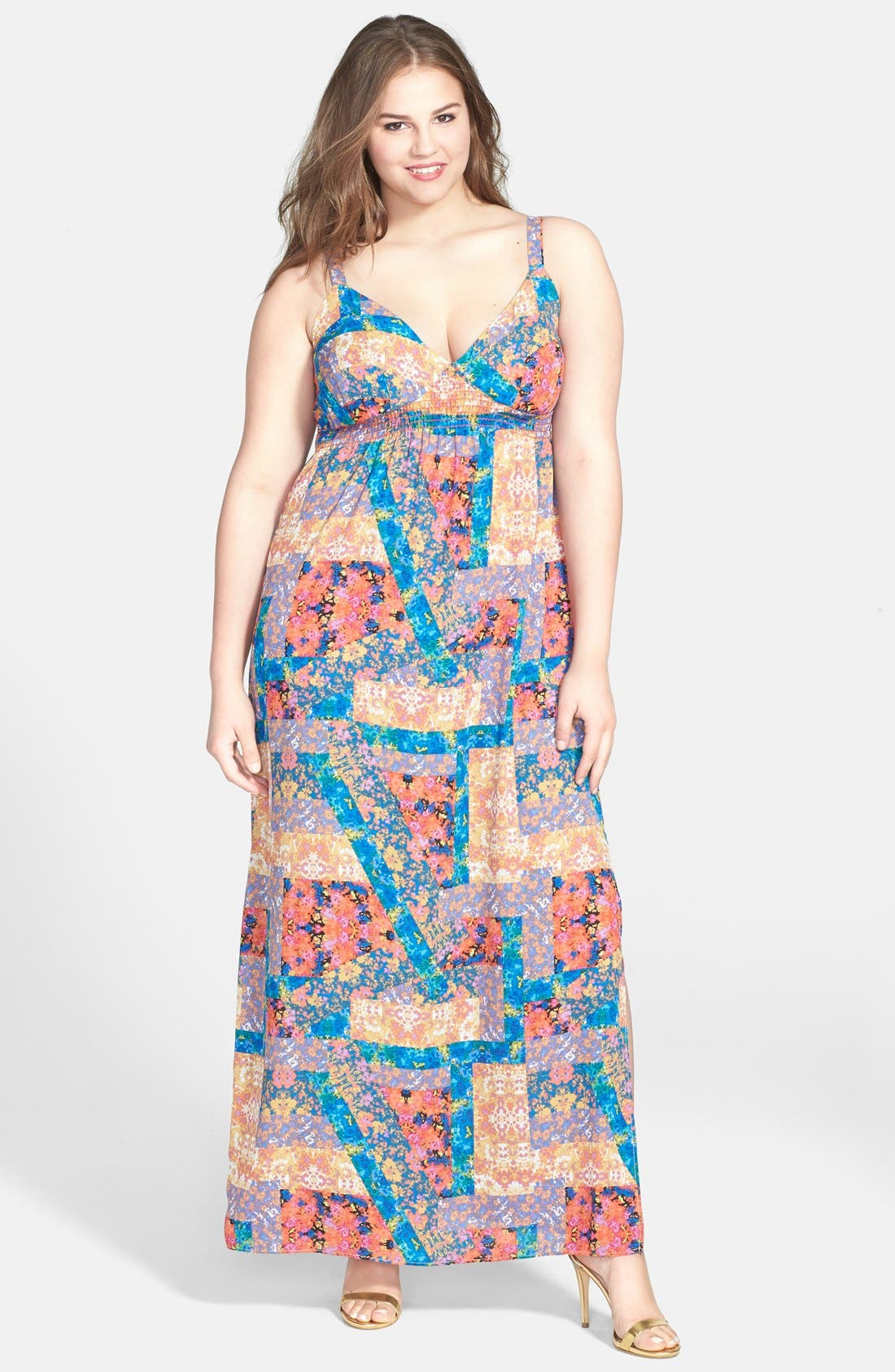 Alternate Image 1 Selected - Eight Sixty Print Smocked Maxi Dress (Plus Size)