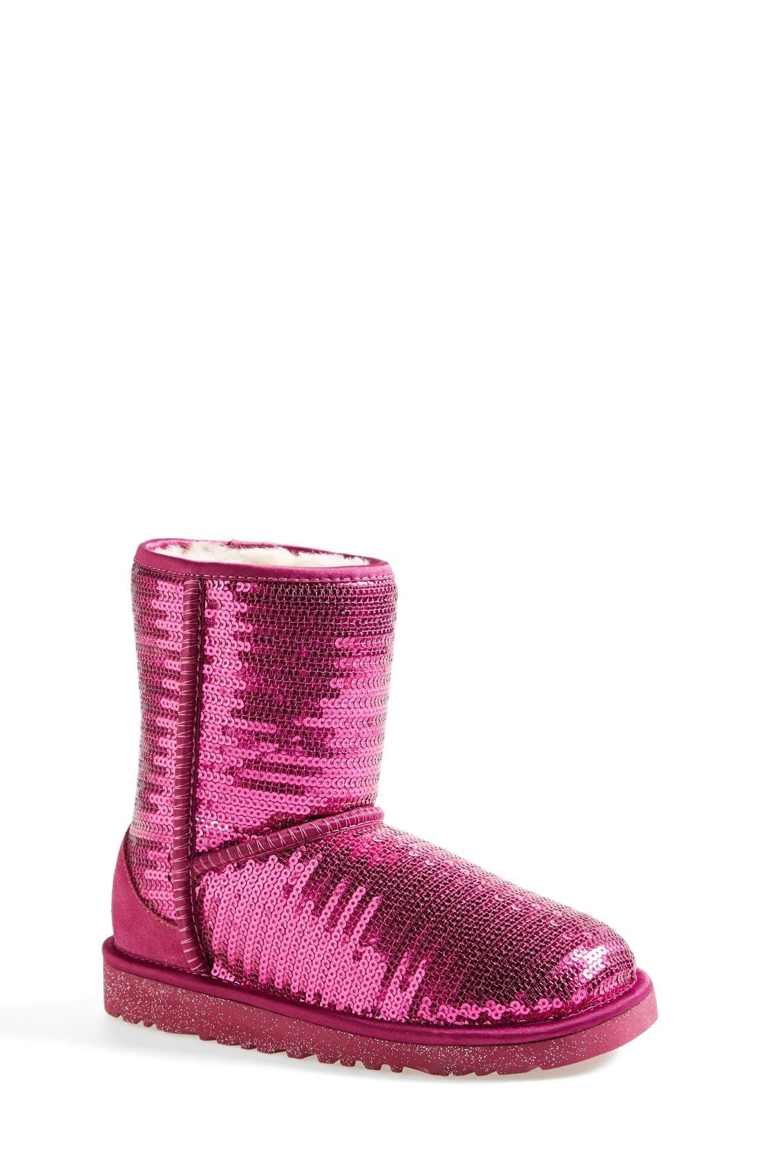 Alternate Image 1 Selected - UGG® 'Classic Short Sparkle' Boot (Little Kid & Big Kid)