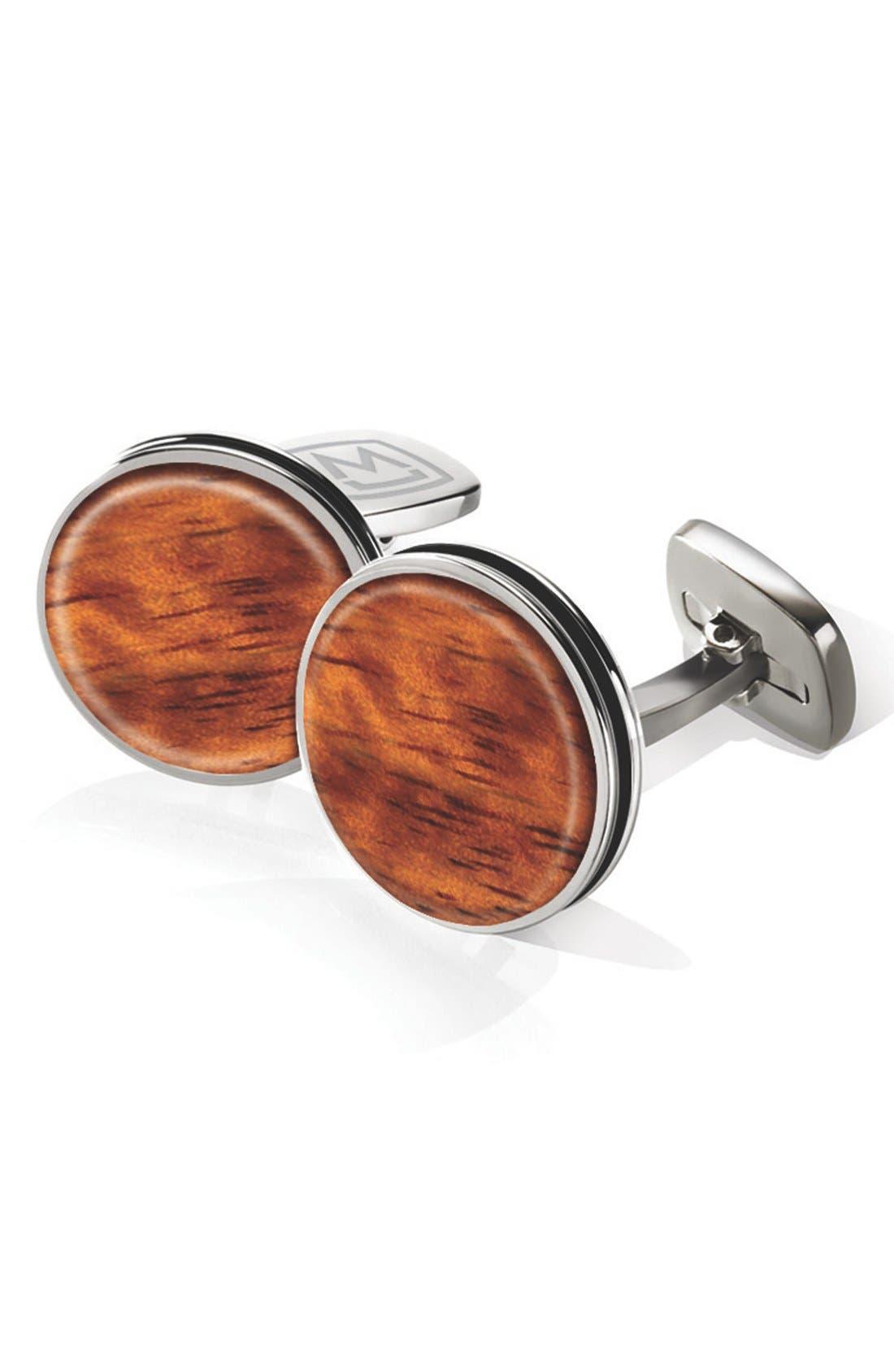 Bubinga Cuff Links,                         Main,                         color, Stainless Steel/ Bubinga Brown
