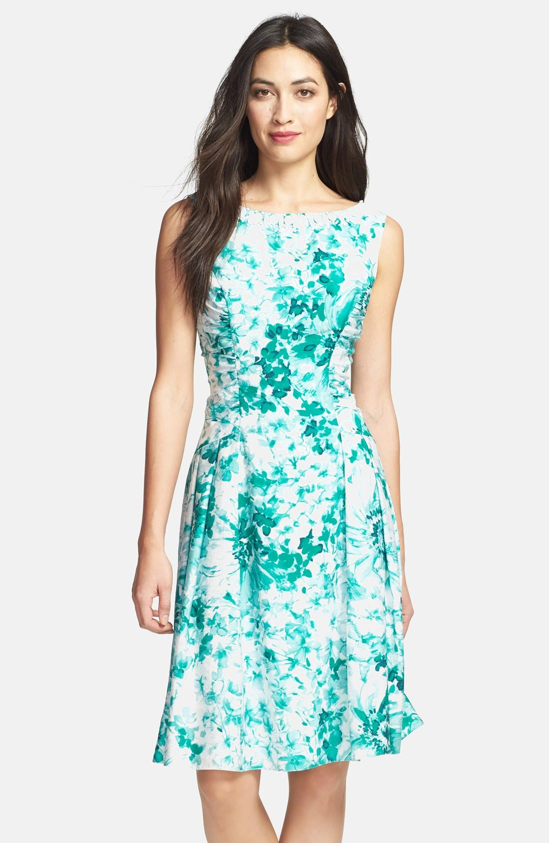 Main Image - Adrianna Papell Beaded Neck Floral Print Fit & Flare Dress
