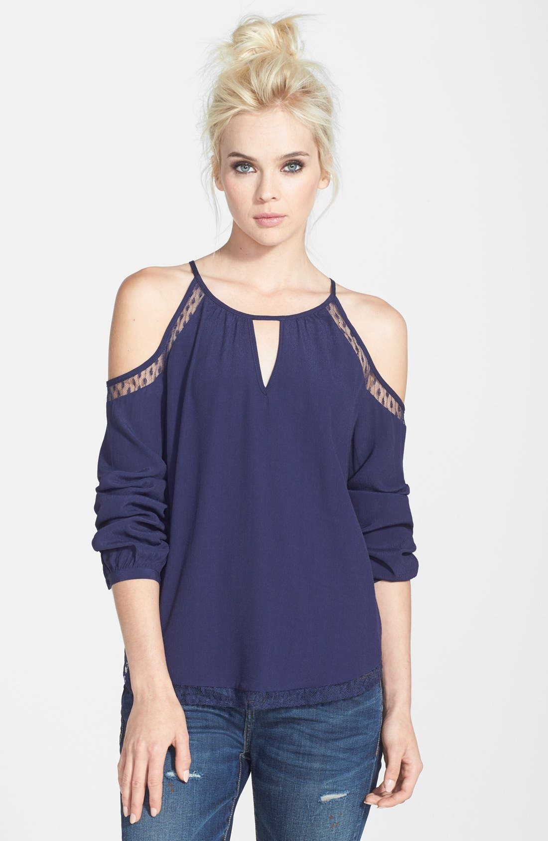 Alternate Image 1 Selected - ASTR Cold Shoulder Silk Blend Top