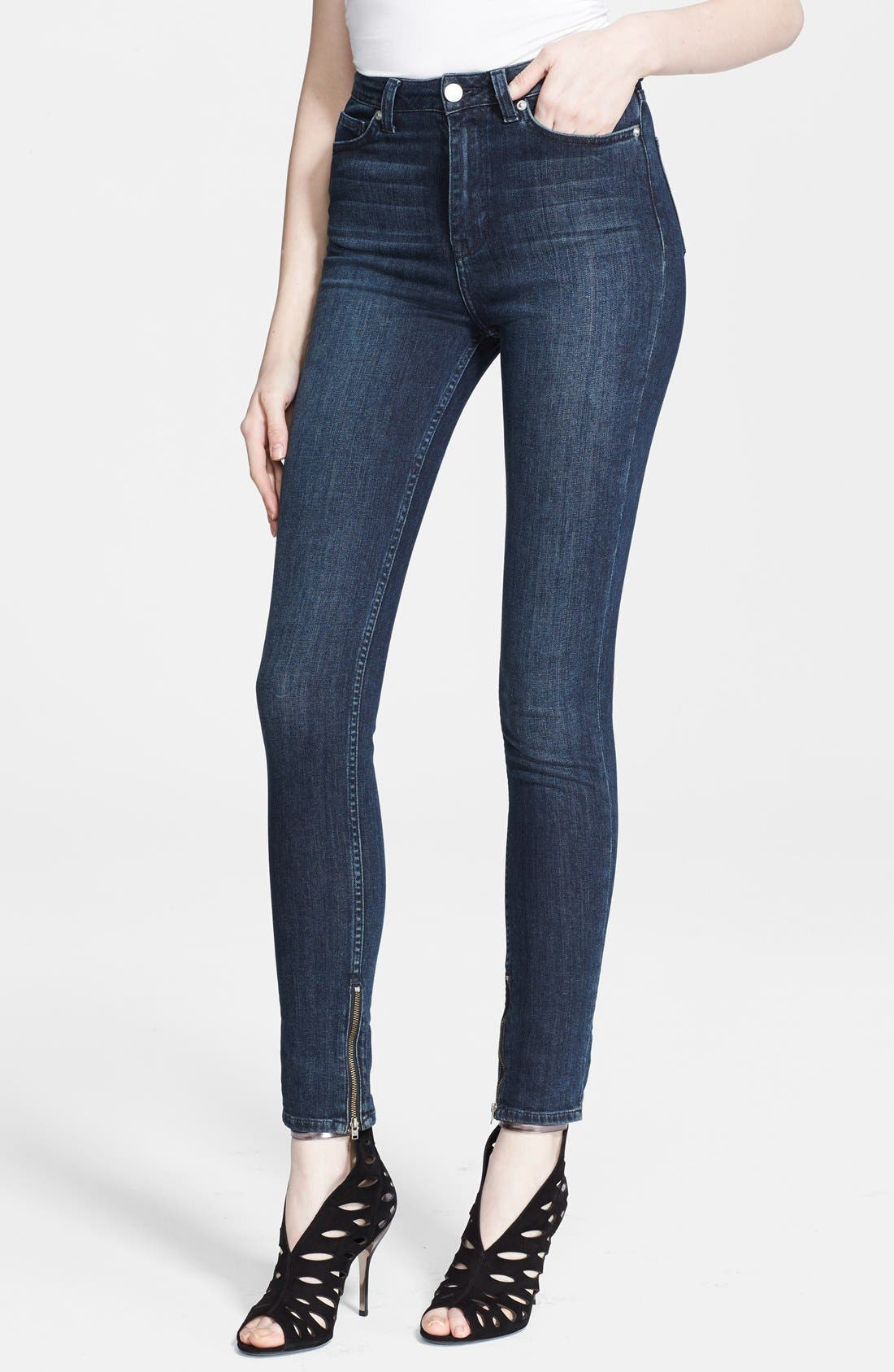 Alternate Image 1 Selected - BLK DNM Zip Detail Skinny Jeans (Water Blue)