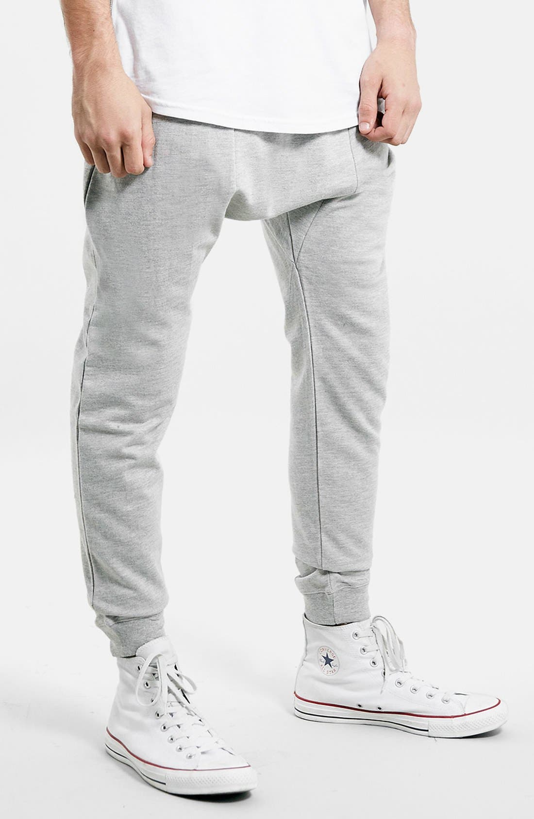 Alternate Image 1 Selected - Topman Heathered Jogger Pants