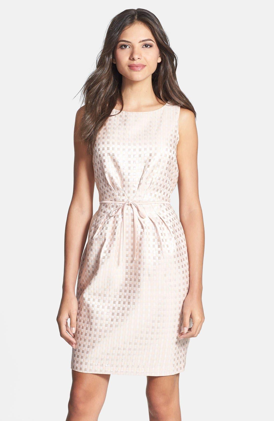 Alternate Image 1 Selected - Gabby Skye Bow Waist Jacquard Sheath Dress