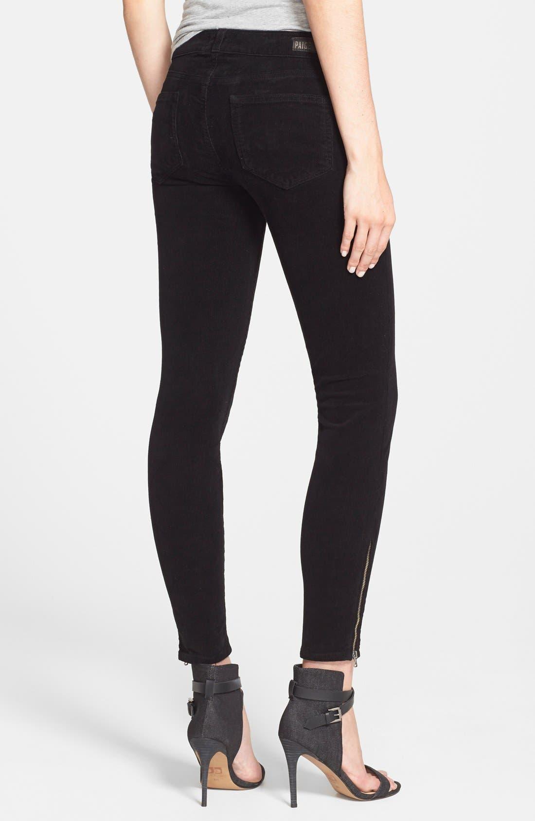 Alternate Image 2  - Paige Denim 'Jane' Zip Detail Ultra Skinny Corduroy Pants