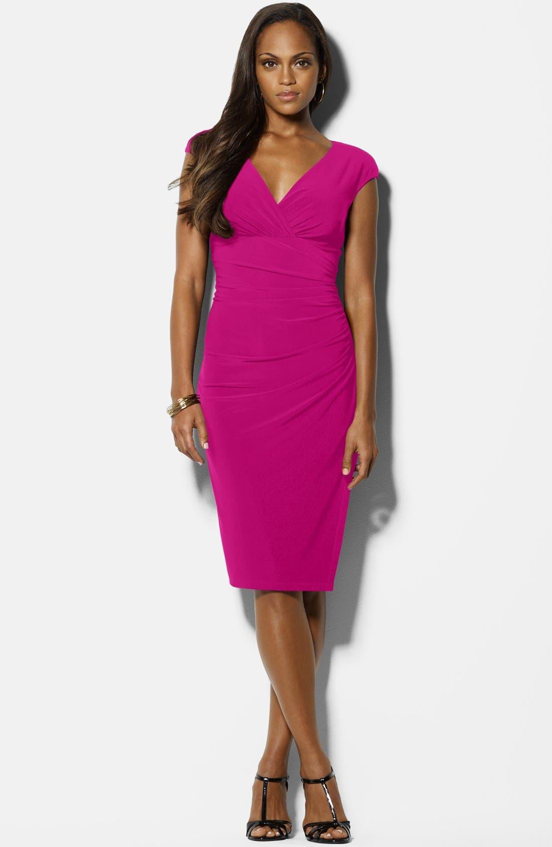 Main Image - Lauren Ralph Lauren Cap Sleeve Matte Jersey Dress