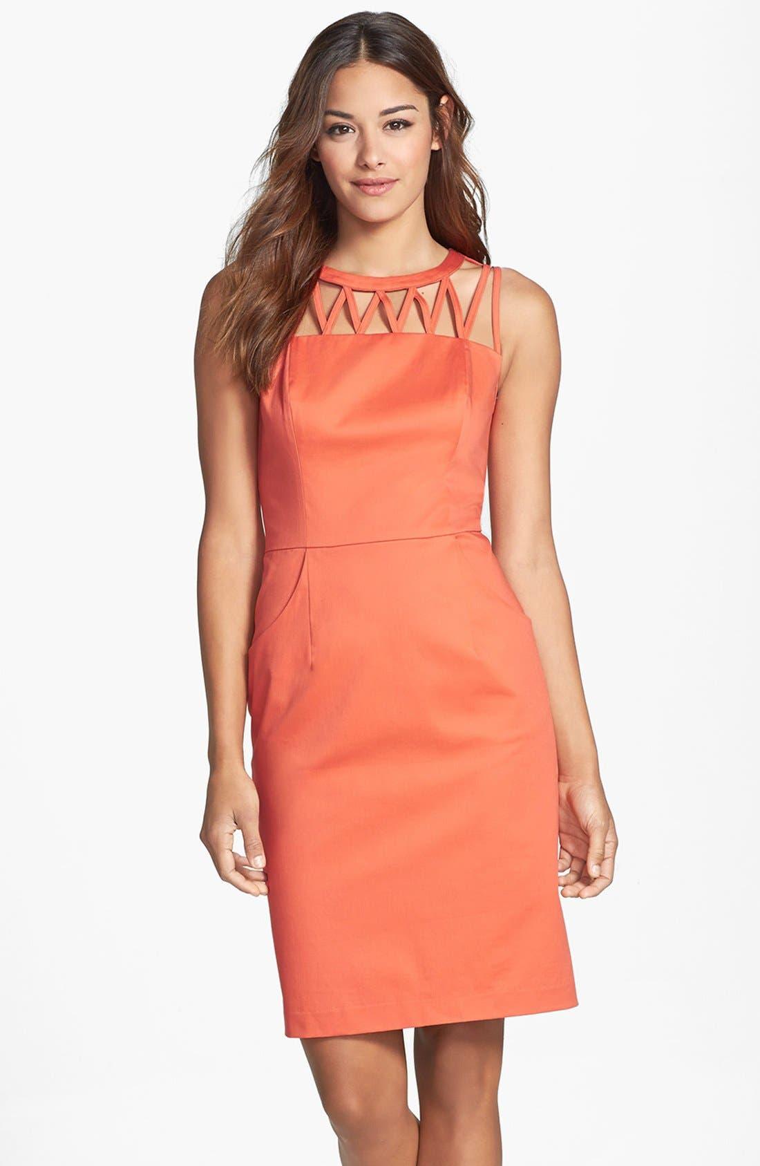 Alternate Image 1 Selected - Adrianna Papell Caged Yoke Stretch Cotton Sheath Dress