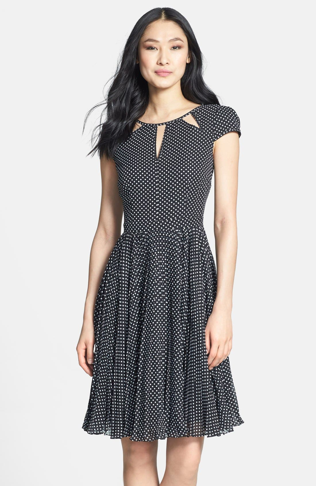 Main Image - Adrianna Papell Polka Dot Cutout Fit & Flare Dress (Regular & Petite)